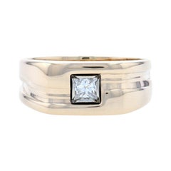 Yellow Gold Diamond Solitaire Men's Band, 14k Princess Cut .40ct Angled Ring