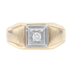 Yellow Gold Diamond Solitaire Men's Ring, 10k Round Brilliant Cut .16ct Brushed
