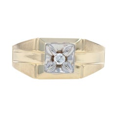 Yellow Gold Diamond Solitaire Men's Ring, 10k Round Brilliant Cut Brushed