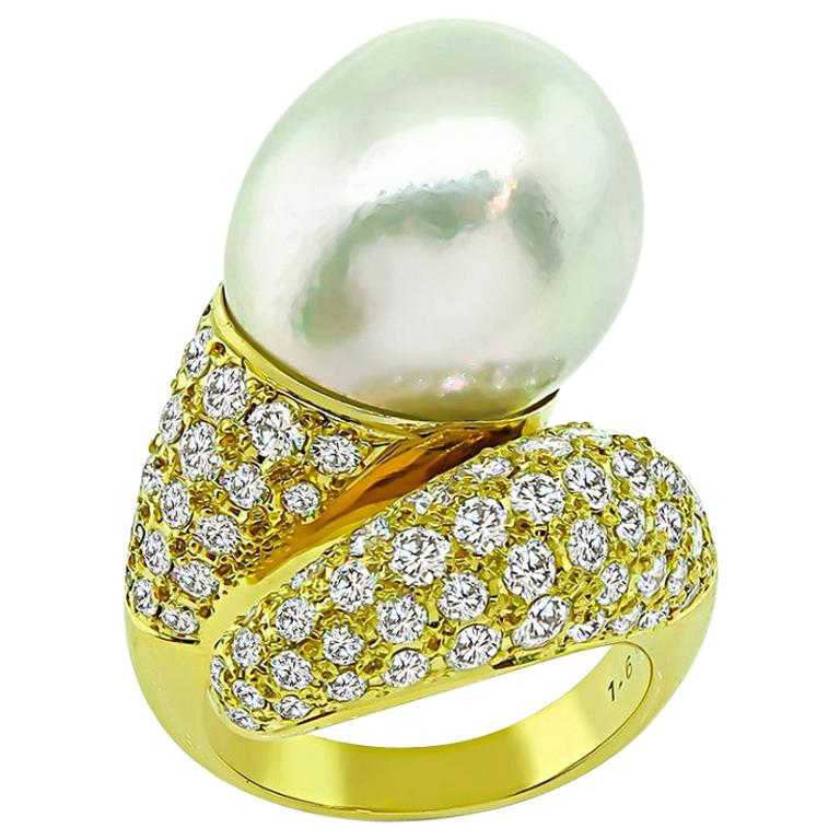 Yellow Gold Diamond South Sea Pearl Ring