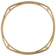 Yellow Gold Diamond Squared Bangle Bracelet