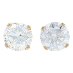 Yellow Gold Diamond Stud Earrings, 14k Round Brilliant Cut .74 Carat Pierced