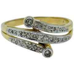 Yellow Gold Diamond Swirl Ring