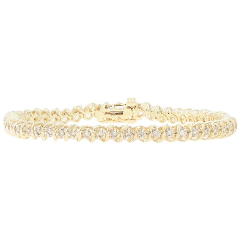 Yellow Gold Diamond Tennis Bracelet, 14 Karat Round Brilliant Cut 1.00 Carat