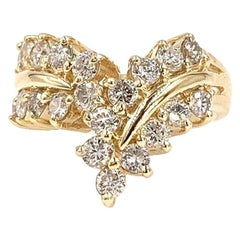 Yellow Gold Diamond V-Shape Curved Ring