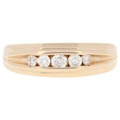 Yellow Gold Diamond Wedding Band, 10k Round Brilliant Cut .50 Carat Men's Ring