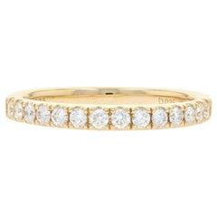 Yellow Gold Diamond Wedding Band, 14 Karat Round Brilliant .35ctw Stackable Ring