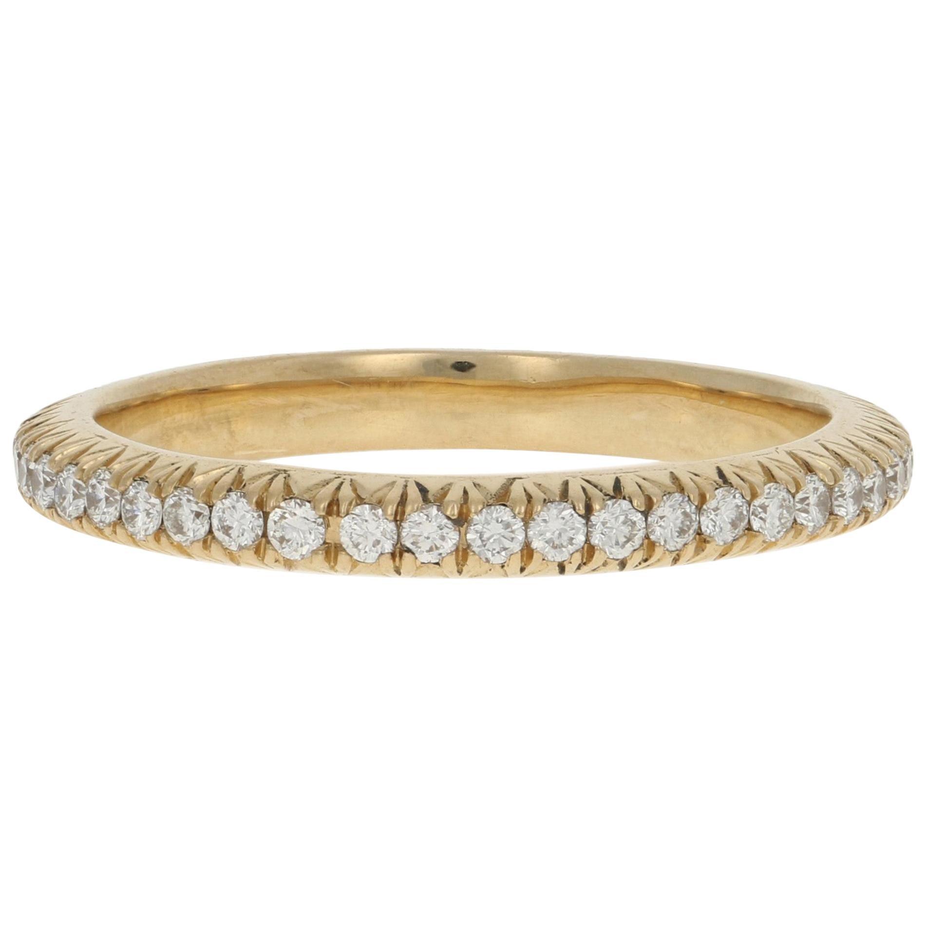 Yellow Gold Diamond Wedding Band, 14 Karat Round Cut .44 Carat Eternity Ring