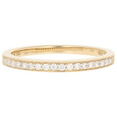 Yellow Gold Diamond Wedding Band, 14k Round Brilliant .15 Carat Milgrain Ring