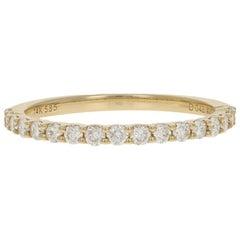 Yellow Gold Diamond Wedding Band, 14k Round Brilliant .43 Carat Women's Ring