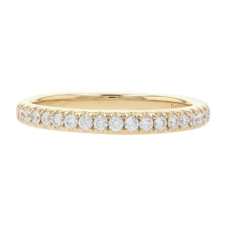 Yellow Gold Diamond Wedding Band, 14k Round Brilliant Cut .28ctw Stackable Ring