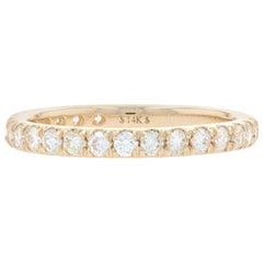 Yellow Gold Diamond Wedding Band, 14k Round Brilliant Cut .67 Carat Women's Ring
