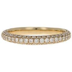 Yellow Gold Diamond Wedding Band, 14k Round Brilliant Cut .75 Carat Women's Ring