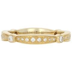 Yellow Gold Diamond Wedding Band, 18 Karat Round .25 Carat Eternity Ring