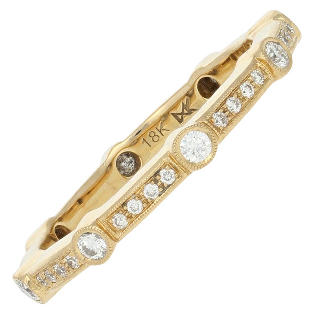 Yellow Gold Diamond Wedding Band, 18 Karat Round .33 Carat Eternity Ring