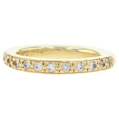 Yellow Gold Diamond Wedding Band, 18k Round Brilliant Cut 42ctw Stackable Ring