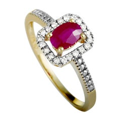 Yellow Gold Diamonds and Ruby Small Rectangle Ring