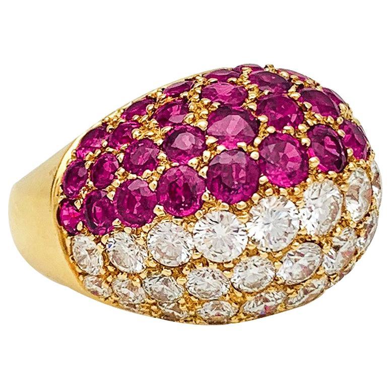 Yellow Gold Dôme Diamonds and Rubies Ring