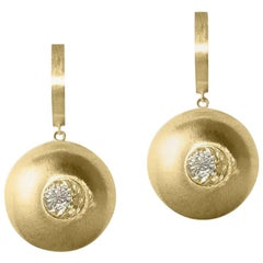 White Sapphire in Yellow Gold Dome Drop Earrings