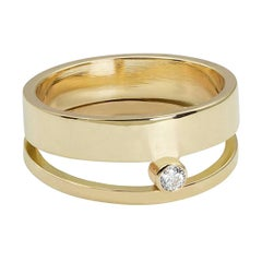 Yellow Gold Double Band Modernist Diamond Ring
