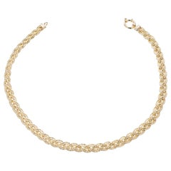 Yellow Gold Double Braided Chain Necklace