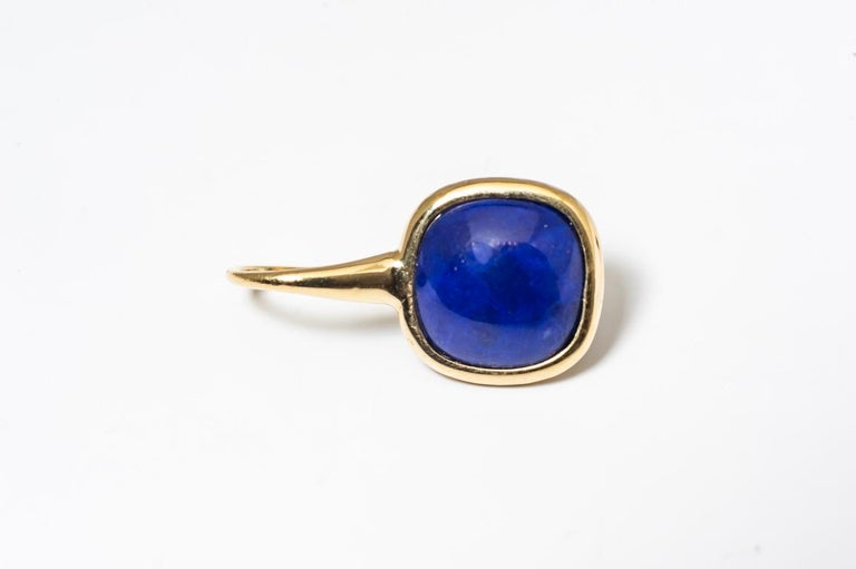 Arts and Crafts Yellow Gold Drop Earrings Lapis-Lazuli Cabochon