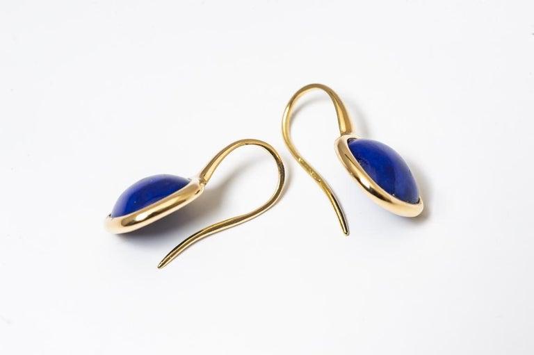 Women's Yellow Gold Drop Earrings Lapis-Lazuli Cabochon For Sale