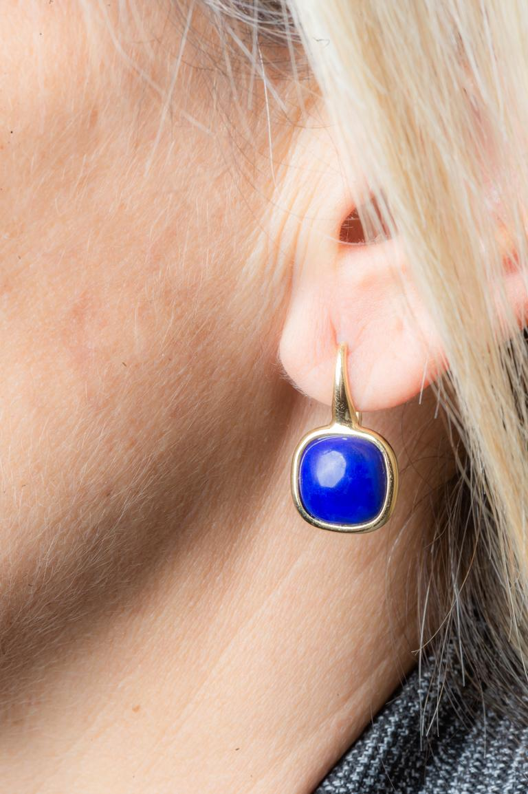 Yellow Gold Drop Earrings Lapis-Lazuli Cabochon For Sale 1