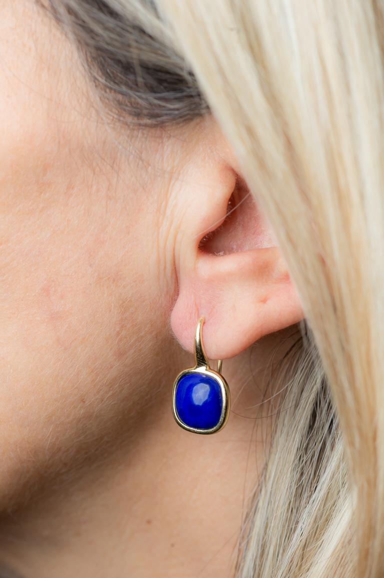 Yellow Gold Drop Earrings Lapis-Lazuli Cabochon For Sale 2