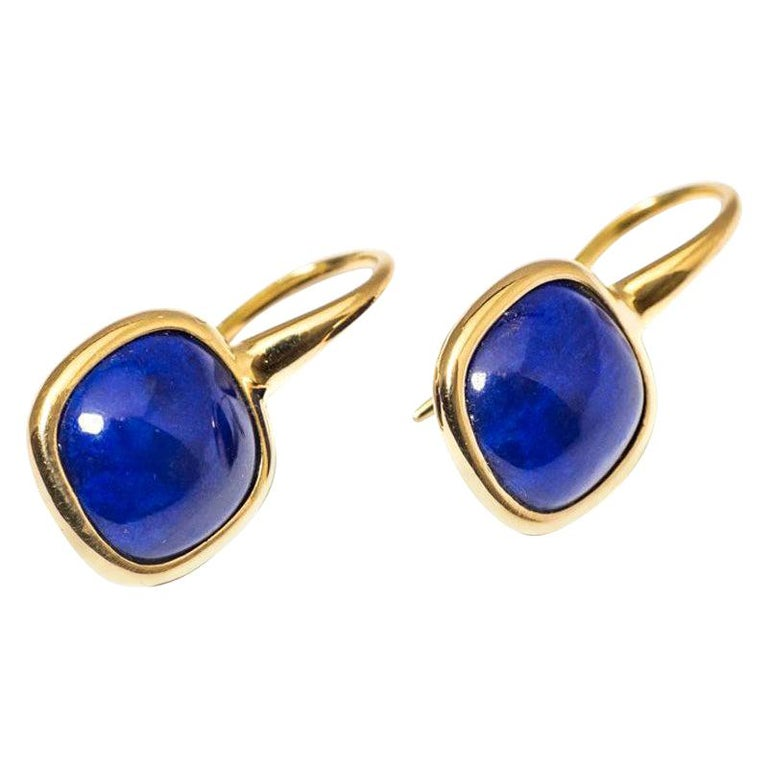 Yellow Gold Drop Earrings Lapis-Lazuli Cabochon For Sale