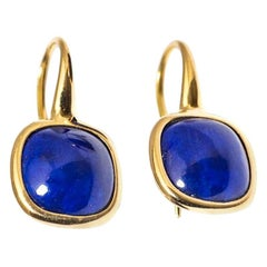 Yellow Gold Drop Earrings Lapis-Lazuli Cabochon