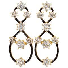Yellow Gold Drop Earrings with Black and White Diamond Clusters Stambolian