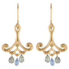 Yellow Gold Drop Earrings with Blue Sapphire Teardrops and Canary Diamonds