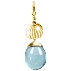 Yellow Gold Drop Pendant Necklace with Aquamarine by the Artist