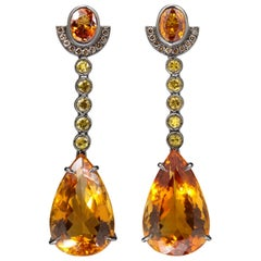 Yellow Gold Earrings Citrine, Orange Saphire, Black and Brown Diamonds