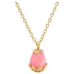 Yellow Gold Egg Shape Pendant with Pink Peruvian Opal and Diamonds Stambolian