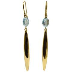 Yellow Gold Elongated Oval Blue Topaz Drop Earrings