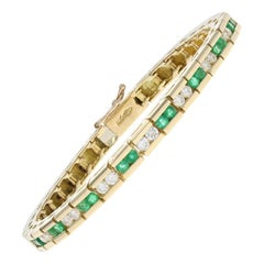 Yellow Gold Emerald and Diamond Bracelet, 18 Karat Round Cut 1.75 Carat Link