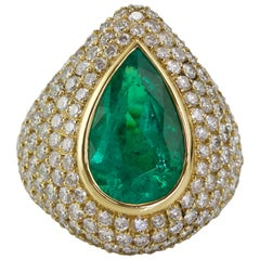 Yellow Gold Emerald and Diamond Cocktail Ring