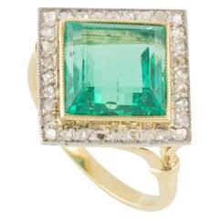 Yellow Gold Emerald and DiamondRing