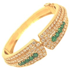 Yellow Gold Emerald and Pave Diamond Bangle Bracelet