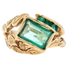 Yellow Gold Emerald Botanical Leaf Ring, 14 Karat Emerald Cut 3.10 Carat Unisex