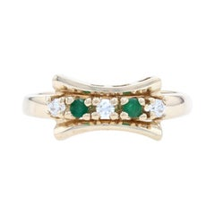 Yellow Gold Emerald & Cubic Zirconia Bow Band, 14k Round Cut .22ctw Ring