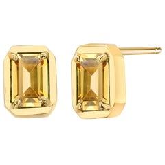 Yellow Gold Emerald Cut Ceylon Yellow Sapphire Bezel Set Stud Earrings