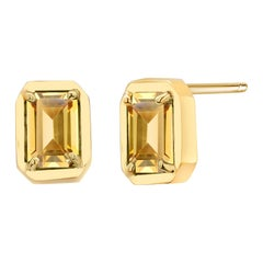 Yellow Gold Emerald Cut Ceylon Yellow Sapphire Bezel Set Stud Earrings