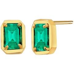 Yellow Gold Emerald Cut Colombia Emerald Bezel Set Stud Earrings