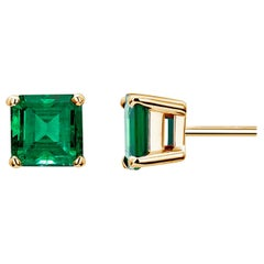 Yellow Gold Emerald Cut Colombia Emerald Stud Earrings Weighing 1.47 Carat