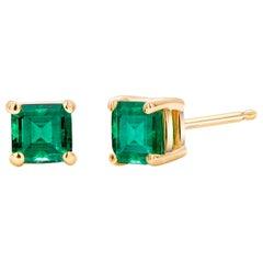 Yellow Gold Emerald Cut Columbian Emerald Stud Earrings