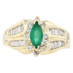 Yellow Gold Emerald & Diamond Bypass Ring, 14k Marquise 1.40 Carat Halo-Inspired