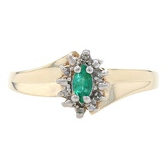 Yellow Gold Emerald & Diamond Halo Bypass Ring, 10k Marquise Cut .24ctw